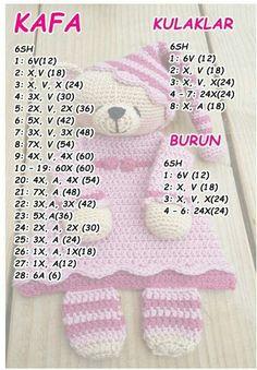 Dou Dou, Crochet Baby, Crochet Patterns, Diagram, Teddy Bear, Dolls, Knitting, Nova, Ideas