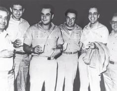 "This photo featured in the John (Junior) Gotti book ""Shadow of My Father"" pictures (l. to r.) unknown, Frankie DeCicco, John Gotti, Angelo Ruggiero, unknown and unknown at Lewisburg Federal Penitentiary in 1969."