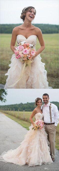 Organza Sweetheart Wedding Dress Fairy Flounced Skirt Bridal Gown Sweep  Train Ball Gown Sweetheart Esküvői Ruha 23dd03c72d