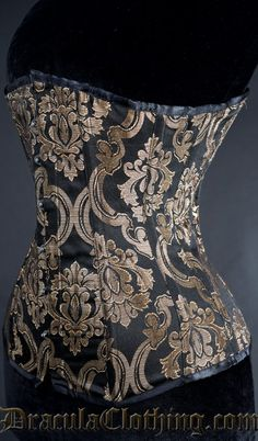 Gold Brocade Overbust Corset, size 22