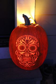 day of the dead Pumpkin Carvings   Day of the Dead Skull Pumpkin   Dia De Los Muertos! Go in peace.....