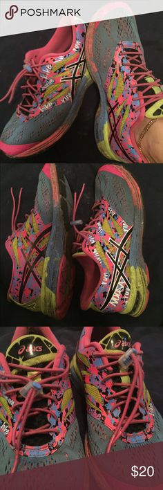 Ladies Asics size 7 Bright pink, light purple, and highlight yellowish pre loved authentic Asics......ladies size 7......worn as pictures show but life left....priced to sell Asics Shoes Athletic Shoes