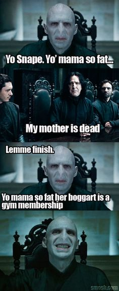 Voldie Moldie, how we all love your vile jokes ^--^ (I'm waiting for someone to create a Fanfiction of him and some woman O..O NOT EVEN HIM BEFORE THE VOLDEMORT PLAGUE! NO TOM RIDDLE.) Hehe ;D