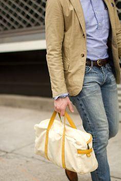 blazer via landsend kids (tailored in length): $ 65 total  pocket square via joann's fabric: $ 6 (pack of 3 fabrics)  shirt via epaulet: $ 150  belt via billy kirk: $ 35 (discount/sale etc)  denim via baldwin: $ 232  bag via army navy: $ 16 (DIY bleachexperiment)  loafers via to boot new york: $ 150 (discout/sale etc)