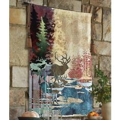 Ghosts of the Tall Timber Tapestry Wall Hanging - LOVE the colors in this rich jewel tapestry wall hanging