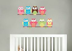Kids set of 8 owls on a thin branch vinyl wall decal cute for a nursery or childs room. $45.00, via Etsy.