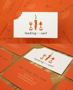 Orange Business Cards.  You didn't need the  center figure...you had me at the bite out.