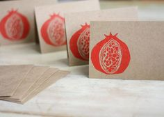 Image result for pomegranate lino print