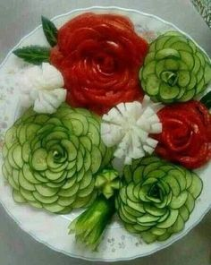 Food sculpture, for buffet table, from tomatoes, cucumbers, and cauliflower
