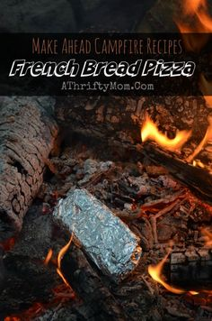 camping menu recipe ideas, french bread pizza made on the campfire, camping hacks, dinner ideas for outdoor cooking
