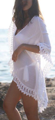 White lace caftan