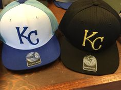Two new hats!  Team colors and gold thread!  Go Royals! #brantsclothing
