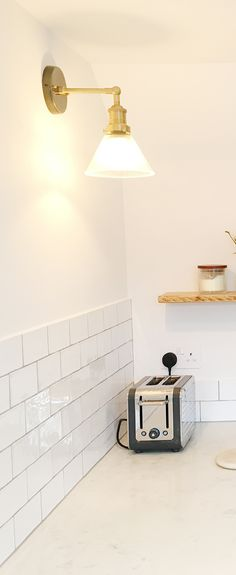 Add glass wall lights into kitchen interiors for a fresh and funky feel! Vintage Industrial Lighting, Copper Lighting, Retro Lighting, Industrial Interiors, Bedroom Lighting, Home Lighting, Lighting Ideas, Bathroom Interior, Kitchen Interior