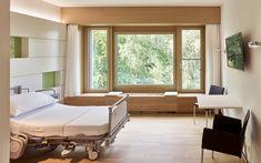 Linde Private Clinic, Biel/Bienne BE, Switzerland Photo: © Alexander Jaquemet, Erlach, Switzerland Interior Design And Space Planning, Drupal, Clinic, Couch, Architecture, Bed, Switzerland, Projects, Furniture