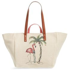 Women's Tommy Bahama La Plancha Beach Tote ($128) ❤ liked on Polyvore featuring bags, handbags, tote bags, winter flamingo, canvas beach tote bags, canvas tote bag, beach bag tote, beach tote bags and handbags totes