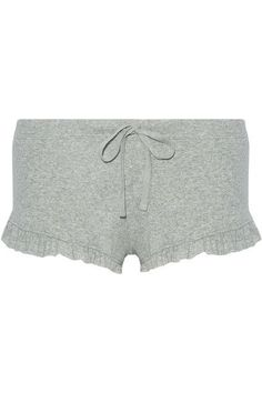 Skin - Ruffle-trimmed Ribbed Pima Cotton Pajama Shorts - Light gray - 0
