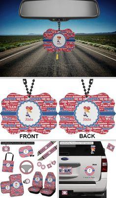 Cheerleader Rear View Mirror Charm (Personalized) Mirror Ornaments, Car Ornaments, Rear View Mirror Accessories, Car Accessories, Car Rear View Mirror, Car Mirror, Circle Labels, School Colors, Blue Ribbon