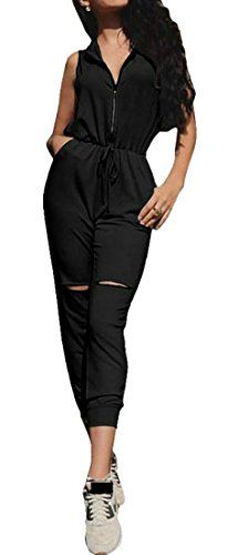 ouxiuli Womens V Neck Camisole Strap Strappy Baggy Jumpsuit Playsuit