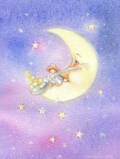 Angel Art Baby's room print Girls room art by Periwinklesky Illustration Noel, Illustrations, Art Magique, Sun Moon Stars, Good Night Moon, Hippie Art, Angel Art, Star Art, Moon Art