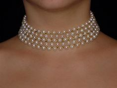 Woven pearl choker with big pearls and gold beads, by Marina J