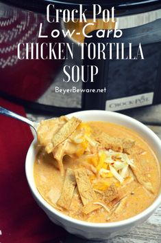 Crock Pot Low-Carb Tortilla Soup Recipe is the best keto soup recipe. I am obsessed with chicken tortilla soup from Max and Erma's. This crock pot low-carb chicken tortilla soup recipe is creamy and hearty and will not leave you craving. Crock Pot Recipes, Slow Cooker Recipes, Low Carb Recipes, Healthy Recipes, Salad Recipes, Tortilla Soup Recipes, Dessert Recipes, Healthy Low Carb Meals, Slow Cooker Tortilla Soup