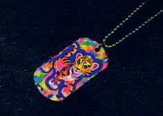 Lisa Frank Dogtag Necklace by TheGreenClock on Etsy #lisa #frank #rave #necklace #jewelry #upcycled