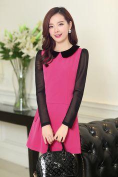 Long Sleeve dress, Chiffon dresses, Cute Dress, Black Sleeve,  YRB, 0439, dresses asian style, asian style dresses, asian clothing style, as...