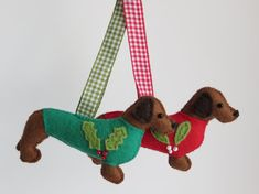 Mid brown hand sewn Dachshund or Teckel felt dog by MisHelenEous, £8.00 New for 2014!