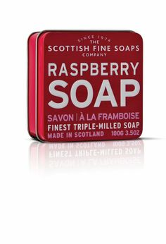 Rasberry (Himbeere) Seife von Scottish Fine Soaps 100 g Seifenstück in Seidenpapier gewickelt eingepackt in einer Schmuckdose mit fruchtigem Design zum anbeißen duftend mit cremiger Konsistenz dreifach gemahlen (triple milled) Farbe: rot Made in Scotland