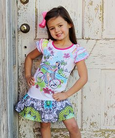 Take a look at this White & Green Bike Drop-Waist Dress - Infant, Toddler & Girls on zulily today!
