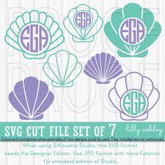 Monogram SVG Shell Mermaid Shell Beach Shell Cut File Set includes 7 cutting by LillyAshley