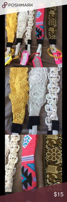 Set of 5 Headband Wrap Designs 🎀🌻 Set of 5 headband wrap designs no decorations #1 2 inches wide elastic paisleys  lace dyed yellow 21 inches circumstance,#2- 2 1/8 inches wide white lace 22 1/2 inches circumstance, #3-1 inch wide vintage white sequins ribbon 22 inches circumstance, #4- 1 1/2 inch wide Aztec hot pink fabric sewn 22 1/2 inches circumstance, #5- 2 inches wide vintage elephant ribbon 22 inches circumstance- handmade Handmade  Accessories Hair Accessories