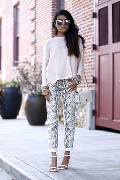 "streetstyled: "" lusttforlife is wearing: H&m Sweater and Python Prints Pants / Zara Lucite Heels / Classic Leather Crossbody courtesy of Coach /Wanderlust & Co. """