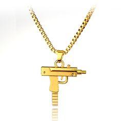 Hip hop long necklace Gold Rose Plated Pistol Uzi Gun 50cm Chain Pendants & Necklaces Men/Women HipHop Maxi Necklace Men Jewelry
