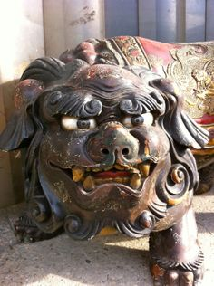 JAPANESE SHISHI | PAIR JAPANESE LACQUERED SHISHI LION TEMPLE GUARDIANS at 1stdibs