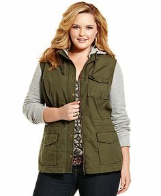 Lucky Brand Jeans Plus Size Jacket, Hood French-Terry Military