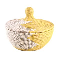 Woven African lidded basket from Connected Fair Trade