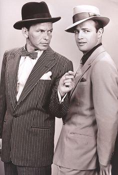 "Frank Sinatra and Marlon Brando for Guys and Dolls (1955)"""