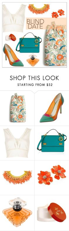 """""""Blind Date"""" by elli-argyropoulou ❤ liked on Polyvore featuring J.Crew, Giannico, River Island, Henri Bendel, Kenneth Jay Lane, Lancôme, Yves Saint Laurent, Spring, floral and croptop"""
