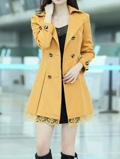 Stylish Lapel Neck Lacework Splicing Double-Breasted Long Sleeve Women's Trench Coat