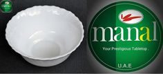 Manal Opal Table Ware Soup Bowl 12.50cm. Original Trade Mark of Manal Opal Ware. U.A.E, Printed @ Bottom of at all Manal Products with signs of Microwave Safe, Dish Washer Safe and Shock Resistant. Al Manal Centre. (Distribution) 112. First Floor. Khaleej Tower 38 Jail Road. Lahore Landline: (042) 3742 8169 Tel. 0332 0291970 / 0332 4129417 Email ahmadkhayam@gmail.com