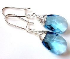 Aquamarine blue Swarovski crystal sterling silver by Emmalishop Swarovski Crystal Earrings, Dangle Earrings, Aquamarine Blue, Dangles, Buy And Sell, Sterling Silver, Handmade, Stuff To Buy, Hand Made