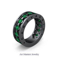 Caravaggio Mens Modern 14K Grey Gold Princess Emerald Wedding Band R313M-14GGEM