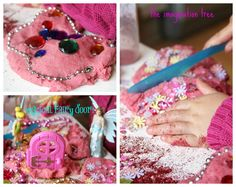 Playing with pink sparkle fairy play dough invitation to play