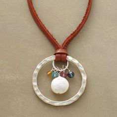 coin pearl, hammered ring, bead and leather necklace