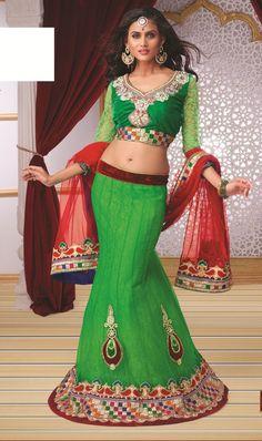 Women's Net Fabric & Green Color Pretty Fish cut Lehenga Style   https://www.designersareesuite.com/catalog/product/view/id/25816/s/women-s-net-fabric-green-color-pretty-fish-cut-lehenga-style/category/54/#.VjYd2tIrLIU