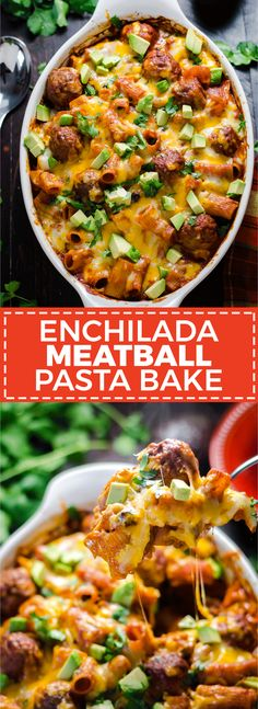 Enchilada Meatball Pasta Bake. This simple, saucy, cheesy dinner comes together all in one dish-- no pre-browning the meatballs or pre-boiling the pasta necessary. | hostthetoast.com | #MeatballPerfection #ad