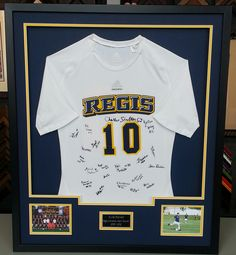 Add an engraved plate to make it personal and authentic. We love the addition of the photos. Regis University, Senior Year Pictures, Picture Arrangements, Framed Jersey, Soccer Jerseys, Wall Ideas, Shadow Box, Custom Framing, Denver