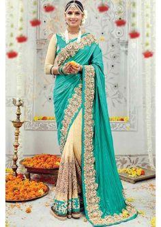 turquoise, Banaras couleur crème soie saree, -, 292,00 €, #Saripascher #Sarimariage #Sariindien #Shopkund