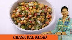 Chana dal is nutritious and easily digested. Chana dal salad is a delicious and easy to make. This healthy and refreshing colorful salad can brighte. Dinner Club, Salad Dressing, Low Carb Recipes, Salad Recipes, Salads, Brunch, Stuffed Peppers, Meals, Vegetables